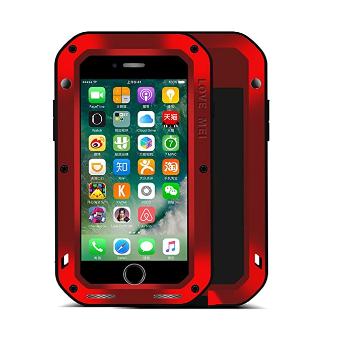 newest c90a9 492a3 iPhone 7 Plus Case,Perstar Shockproof Dust/Dirt/Snow Proof Aluminum Metal  Gorilla Glass Protection Case Cover for Apple iPhone 7 Plus (Red)