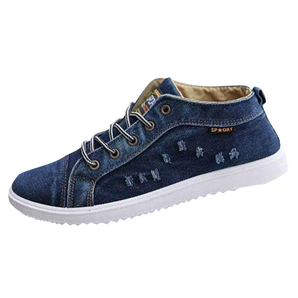 Dermanony Man's Denim Canvas Shoes Fashion Pure Lace up Casual Sneakers Breathable Comfortable Flats Sport Shoes by Dermanony _Shoes