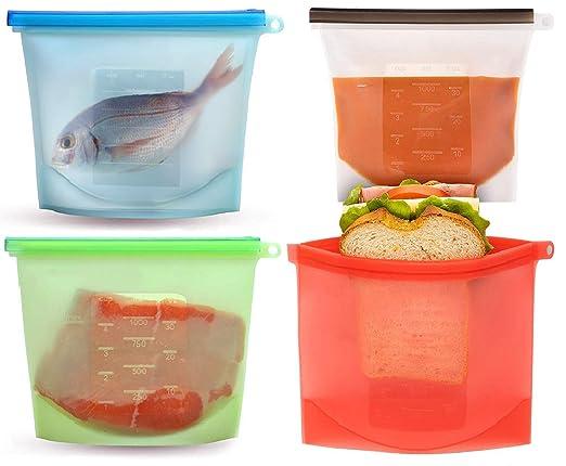 Bolsas de almacenamiento de alimentos, reutilizables, congelador ...