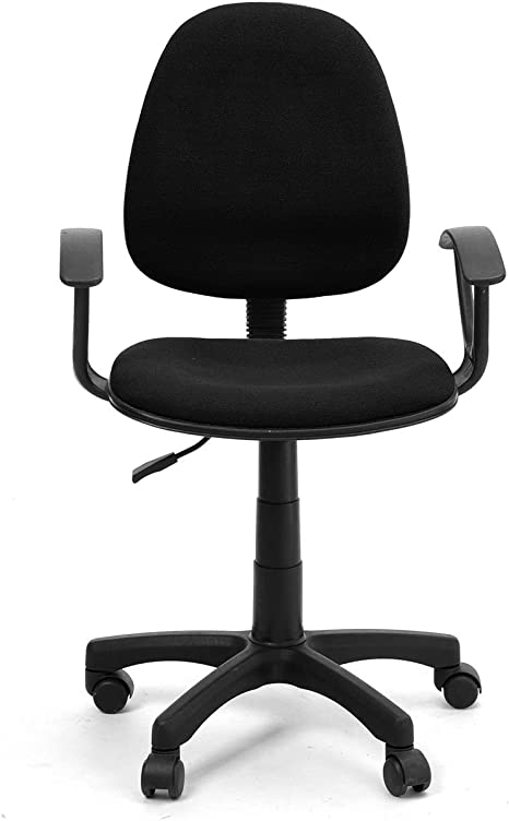 Amazon Com Vecelo Mid Back Home Office Computer Chair With Arms And Fabric Pads Black Furniture Decor