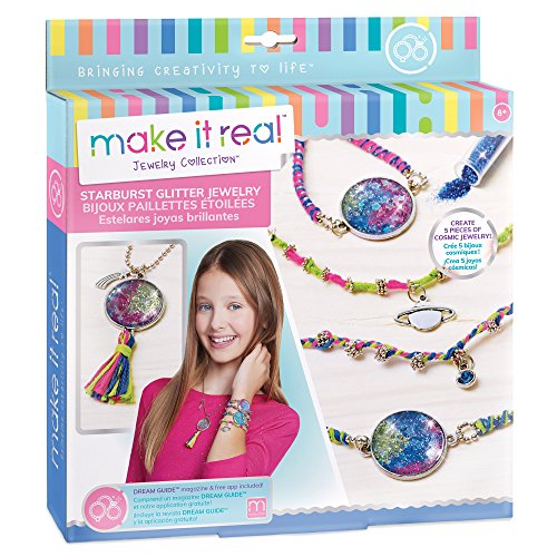 Make It Real – Starburst Glitter Jewelry. DIY Necklace & Bracelet Making Kit for Girls. Arts and Crafts Kit to Design and Create Unique Pendant Bracelets with Glitter, Beads, & Cosmic Charms