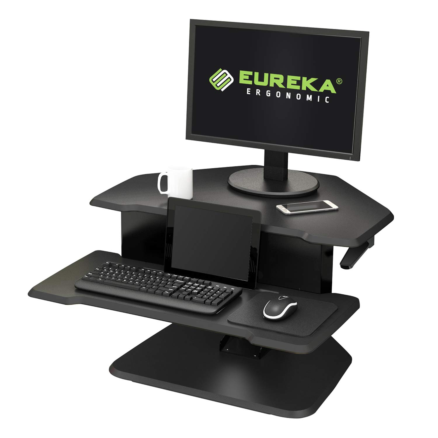 Eureka Ergonomic 28'' Height Adjustable Sit-Stand Desk, Corner Desk - with Keyboard Tray Black by Eureka Ergonomic (Image #1)
