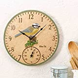 Blue Tit Wall Clock and Thermometer by Smart Garden