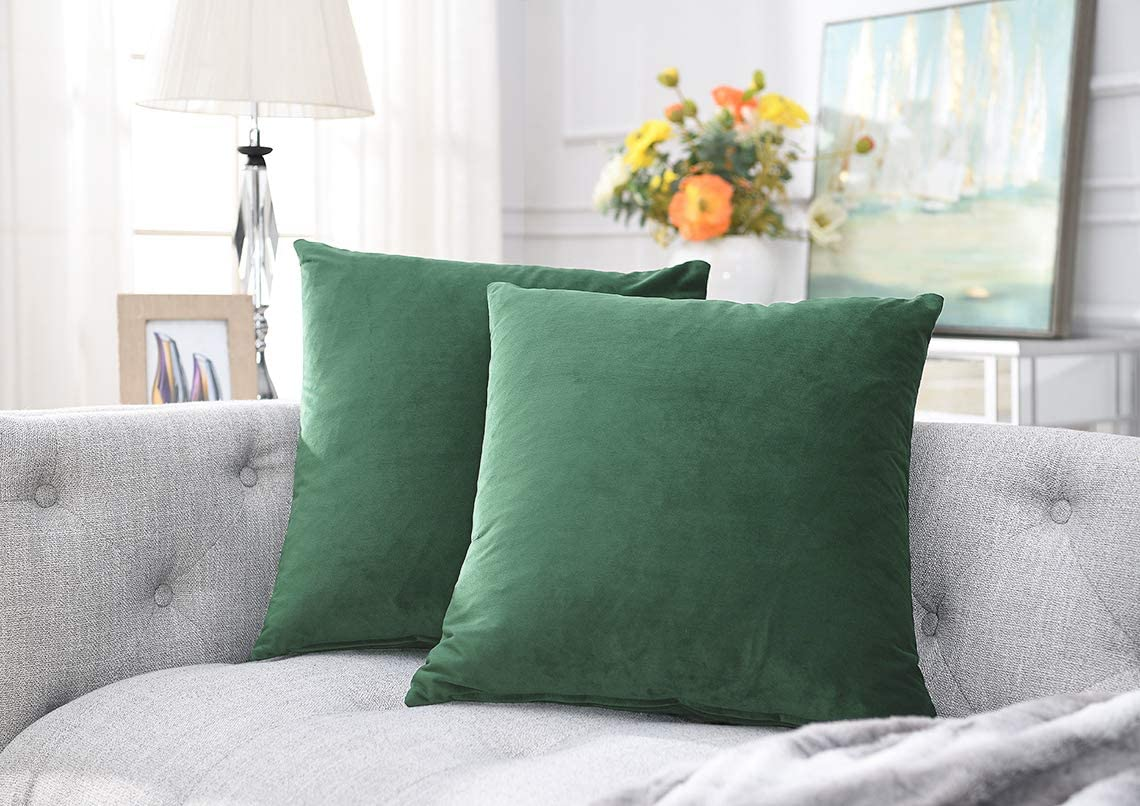 COMFORTLAND 2 Pack Decorative Throw Pillow Covers, Square Soft Luxury Velvet Cushion Covers, 20x20 Solid Pillowcase Set for Sofa Couch Bed Chair Car Home Decor, Army Green