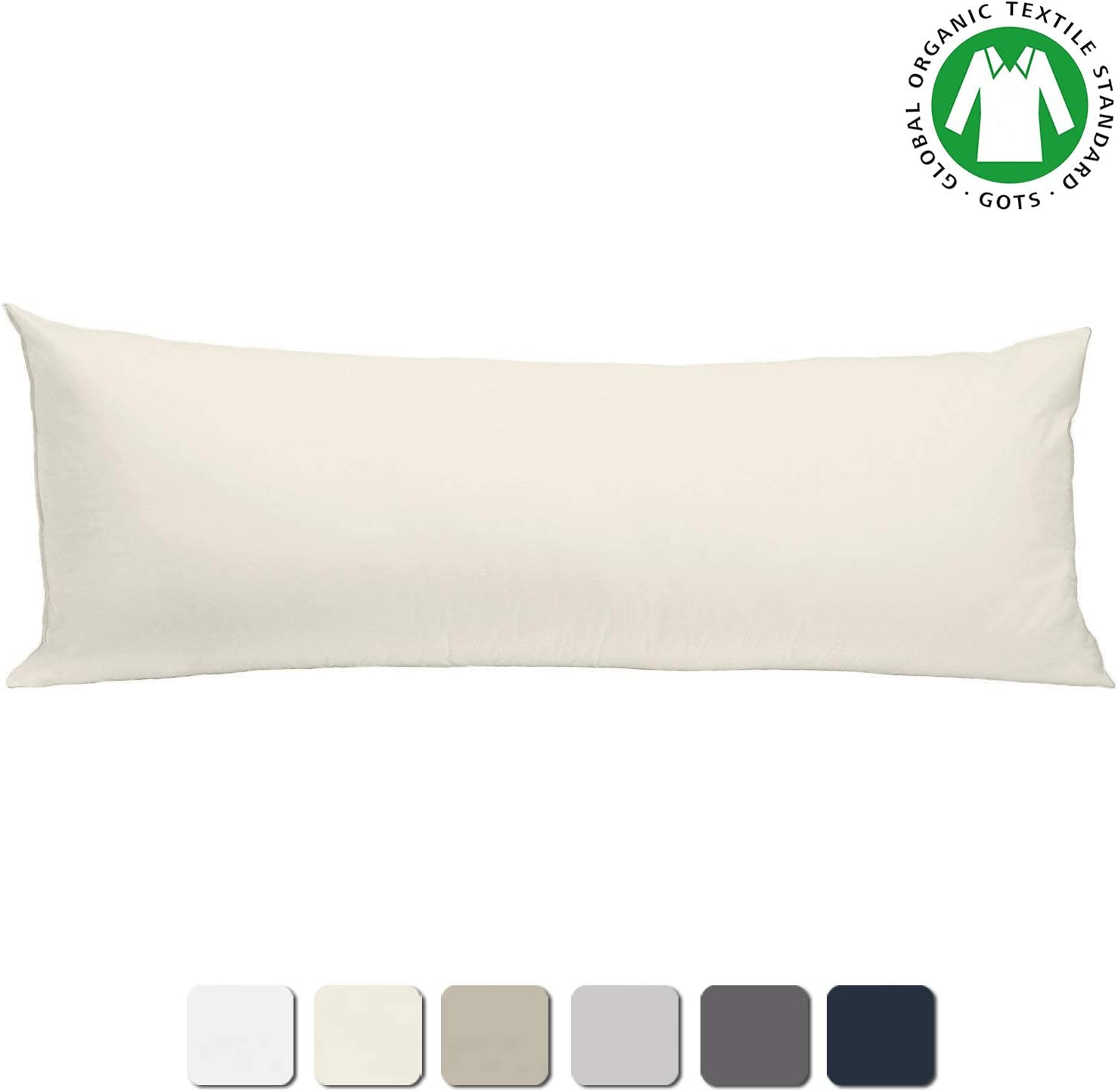 """BIOWEAVES 100% Organic Cotton Body Pillow Cover for Body Pillowcases 300 Thread Count Soft Sateen Weave GOTS Certified with Zipped Closure - 21"""" x 54"""", Natural"""