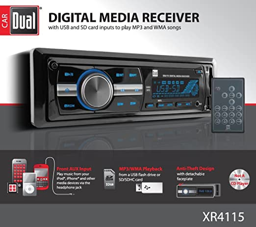 amazon com: dual electronics xr4115 multimedia detachable mechless lcd high  resolution single din car stereo receiver with built-in usb, sd card,