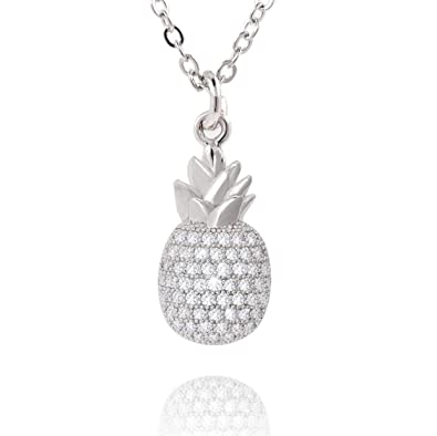 0f1595bfd COZLANE Silver Tiny CZ Pineapple Necklaces Cubic Zirconia Pave Pendant  Necklace for Women Girls