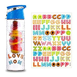 DIY Fruit Infuser Water Bottle 25 oz Detox Flip-Top Leak Proof BPA-Free Tritan with Recipe Book Birthday Gifts for Women Blue