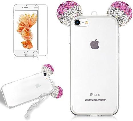 COVER CUSTODIA IPHONE 7 orecchie brillantini strass glitter