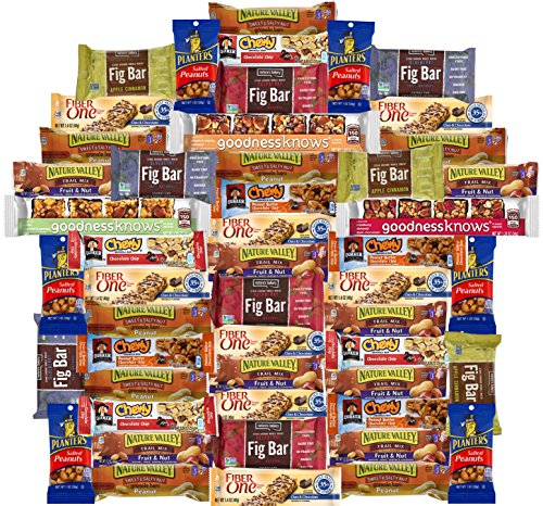 Healthy Snacks Care Package Variety Pack of 50, Fiber One Granola Bars and More