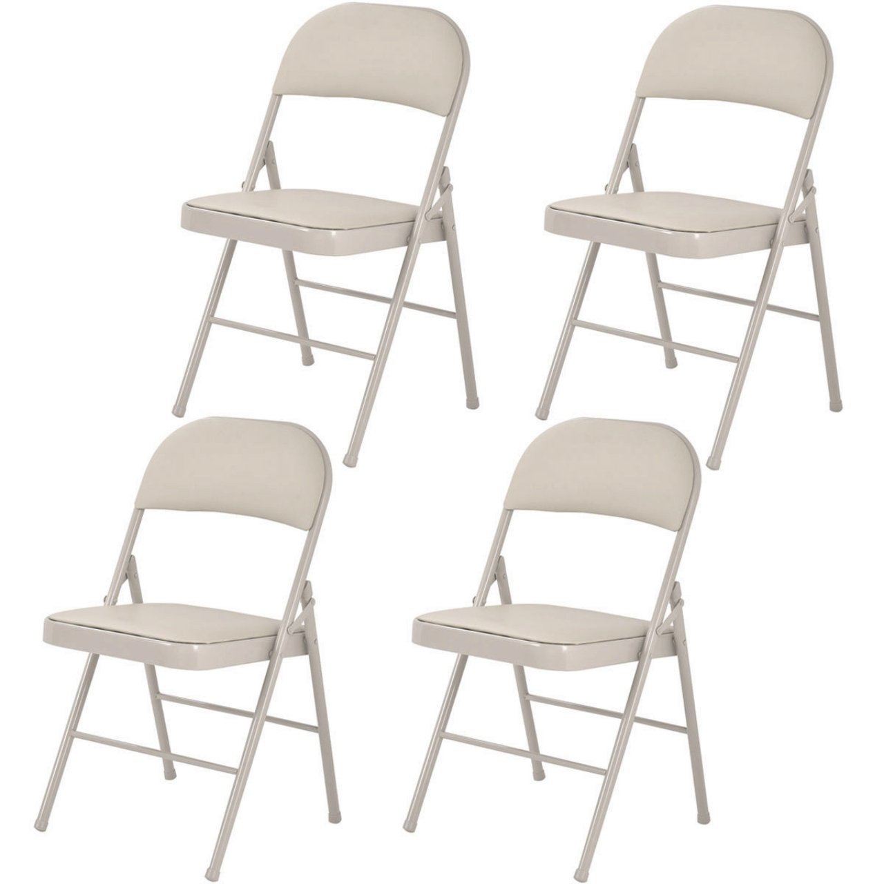 Set of 4 Folding Chairs Heavy-load Steel Frame Portable Home Garden Office Furniture/ Beige #1010
