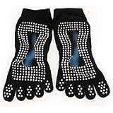 HuaYang Nouveau Cinq orteils Chaussettes Yoga Chaussettes professionnel Massages antidérapant pour femmes(Noir)