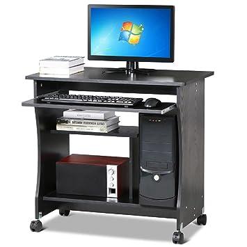 Mesa pequeña tinkertonk para ordenador, de madera, 4 ruedas, bandeja deslizante para teclado, madera, negro, Small: Amazon.es: Hogar