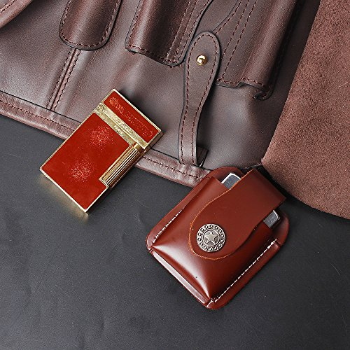 (Cigarette Lighter Holder Pouch Case Box For Belt Loop EDC Utility Genuine Leather Fliptop Cigar Electric Mini Lighter Pocket (brown))