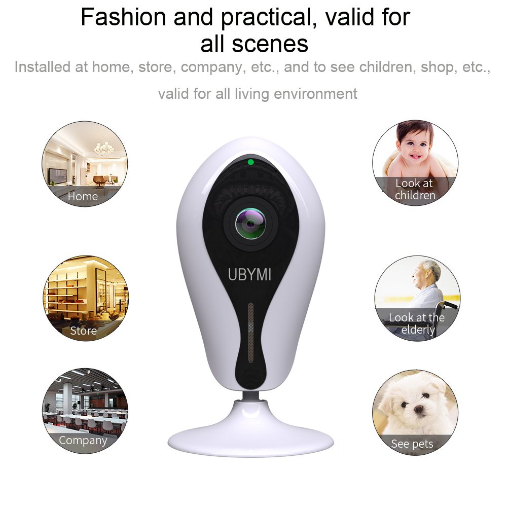 IP Camera HD 720P Wireless WiFi Privacy Security Panoramic Camera with Two-way Audio, Red Light Night Vision Surveillance Camera, Smart Wide Angle 360 Degree Rotation P2P Motion Detection Camera