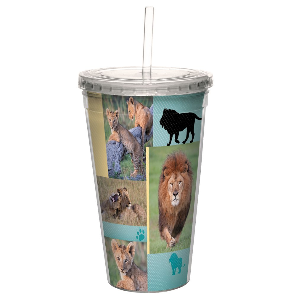 Tree-Free Greetings CC99034 Lion Collage Double-Walled Acrylic Cool Cup with Reusable Straw, 16 Ounce