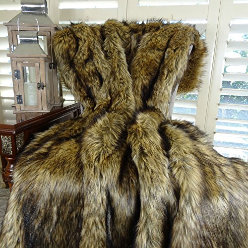 Thomas Collection Brown Faux Fur Designer Throw Blanket Bedspread, Light & Dark Brown Wolf Faux Fur Luxury Throw, Made in USA, 16406 by Thomas Collection