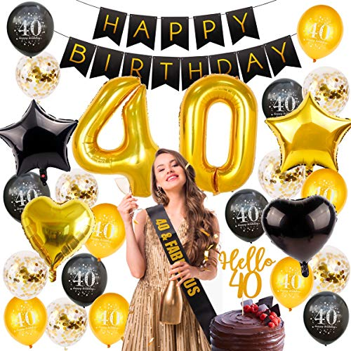 40th Birthday Decorations Party Supplies, Birthday Balloon Gold Number 40, 40 Birthday Banner, Hello 40 Cake Topper, Fabulous Sash, 40 Birthday Party Decorations by QIFU (40 Birthday Balloons)]()