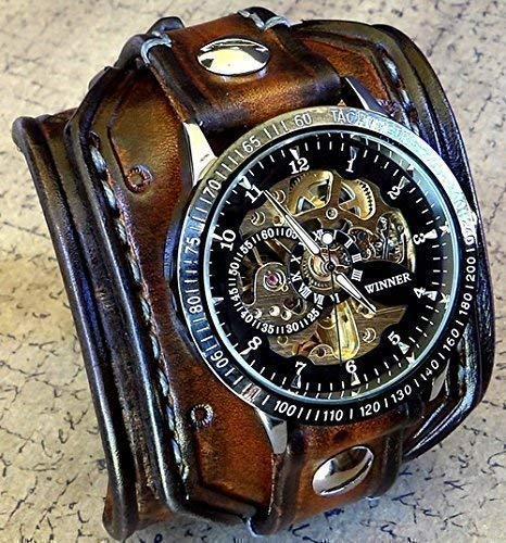 Steampunk Leather Cuff Watch, Skeleton Men's watch, Aged brown Leather Cuff, Bracelet Watch, Wrist Watch
