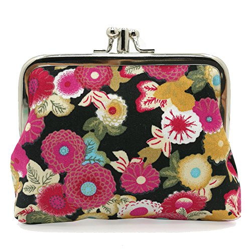 (Cute Floral Buckle Coin Purses Vintage Pouch Kiss-lock Change Purse Wallets (16))