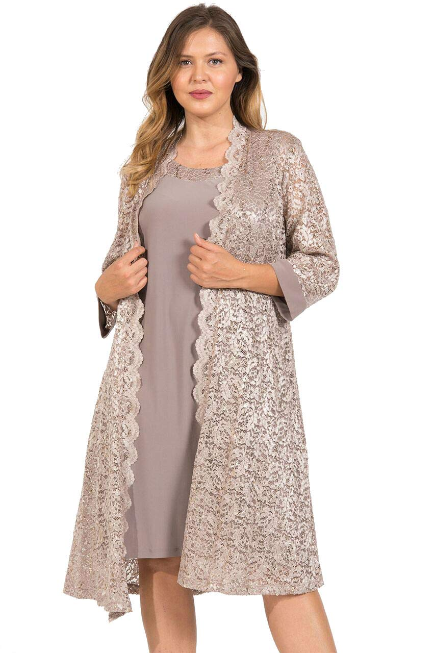 R&M Richards Short Mother of The Bride Dress Plus Size Champagne