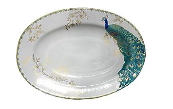 222 Fifth Peacock Garden Serving Platter   Approx 14u0026quot; ...