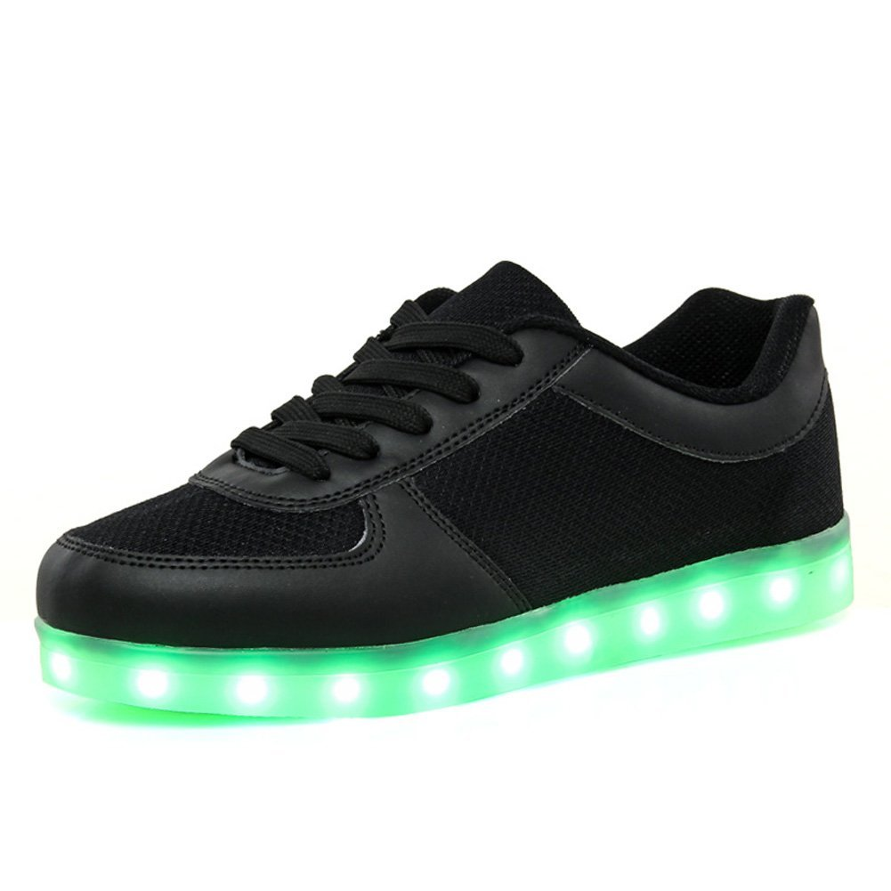 KALEIDO Unisex Summer Style Mesh USB Charging 7 Colors LED Shoes Flashing Sneakers Light up Sport Shoes (7.5 B(M) US Women/5 D(M) US Men, Black)