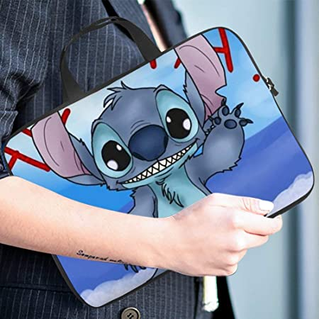 Stitch in Love Laptop Bag Protective Case Tote Notebook Computer Pocket Case Carrying Zipper Bag 10-17 Inch