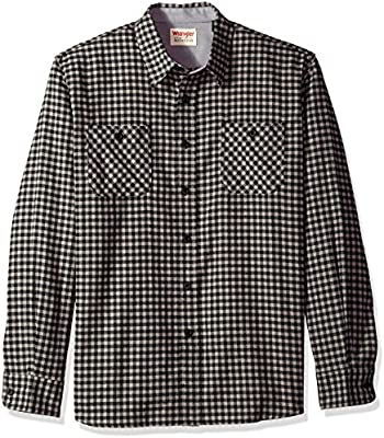 Howme Mens Long-Sleeve Fall Winter Gingham Relaxed Heavy Cotton Shirts