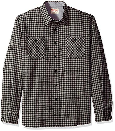 Wrangler Authentics Men's Long Sleeve Flannel Shirt, Caviar