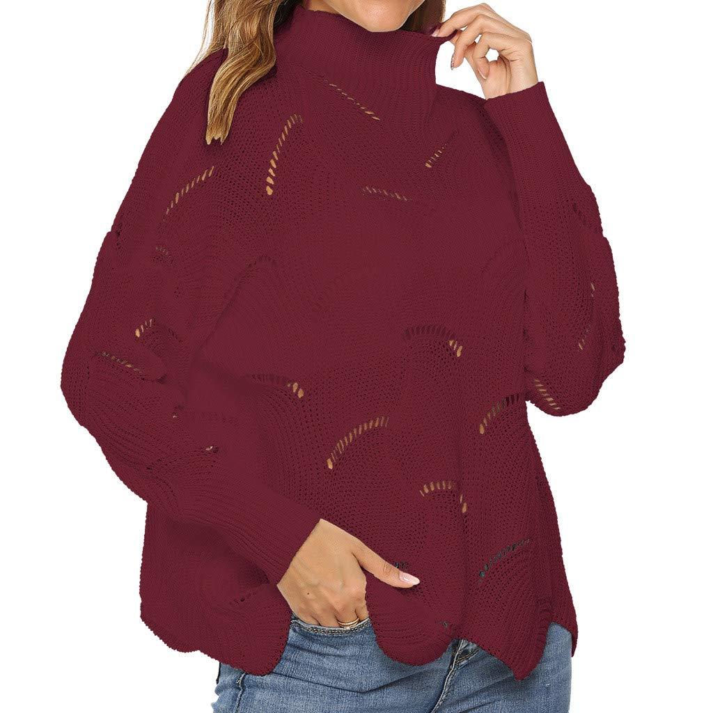 〓COOlCCI〓Women Casual Long Sleeve Hight Neck Hollow Out Lrregular Hem Solid Pullover Sweater Sweatshirt Tops Blouse Wine by COOlCCI_Womens Clothing