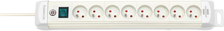 Fabrication Fran/çaise Brennenstuhl Multiprise electrique Premium Plus 8 Prises Multiprise avec interrupteur, c/âble 3m H05VV-F 3G1,5, Blanc