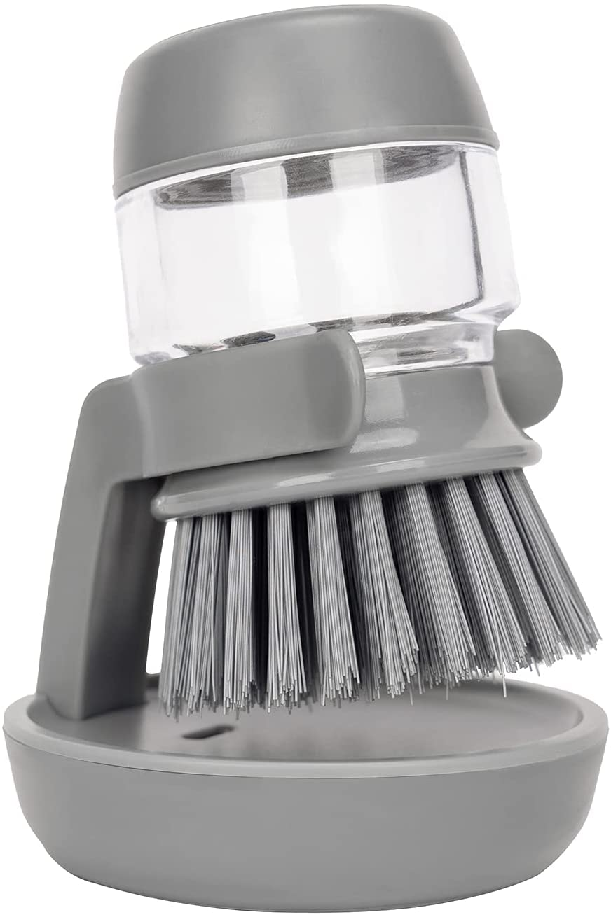 Soap Dispensing Palm Scrub Brush with Drip Tray, Washing Brush for Dishes Pots Pans Sink Cleaning, Kitchen Scrubber Storage Stand Set (Gray)