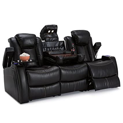 Seatcraft Omega Leather Gel Home Theater Seating Power Recline Multimedia  Sofa With Adjustable Powered Headrests And