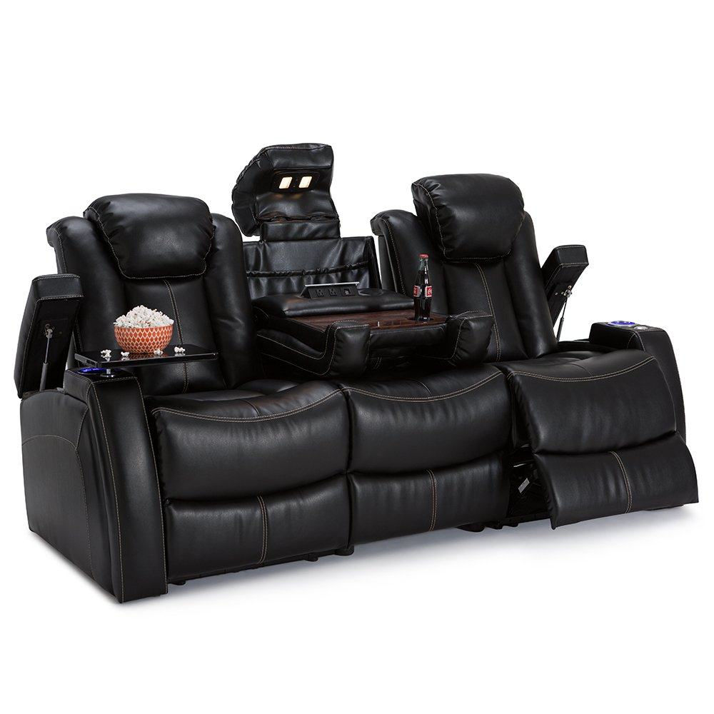 Lane Omega Leather Gel Home Media Sofa Power Recline - (Sofa w/ Flip Console, Black) by SEATCRAFT