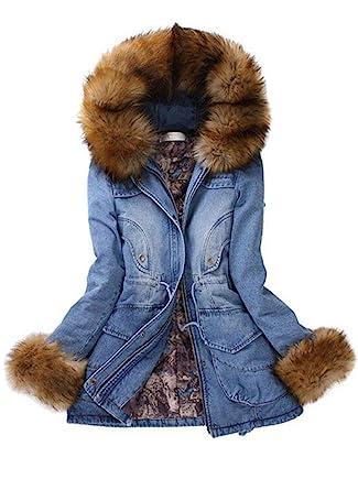 34ad633149bd Amazon.com  ETCYY Womens Winter Faux Fur Hooded Down Denim Jean ...