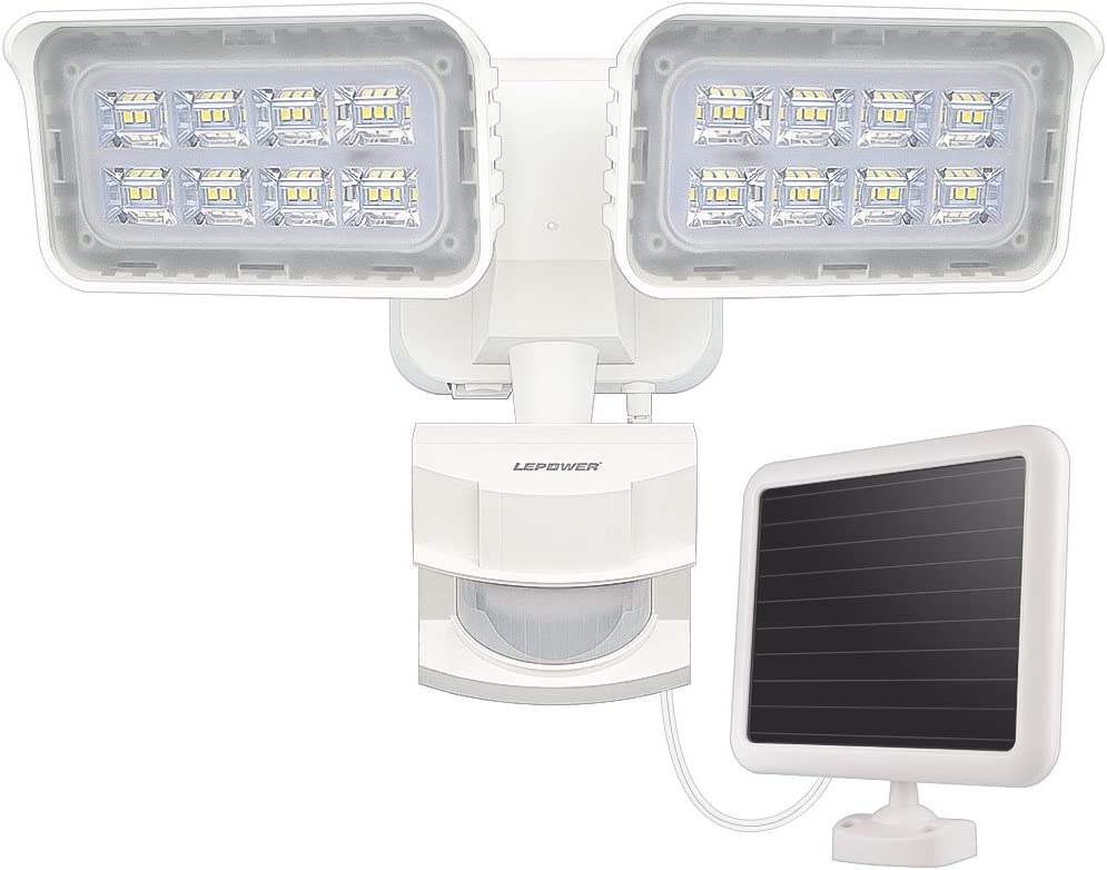 LEPOWER 1500LM Solar Lights Outdoor, LED Motion Sensor Security Light, 6000K, IP65 Waterproof, Adjustable Head Flood Light with 2 Modes Automatic.