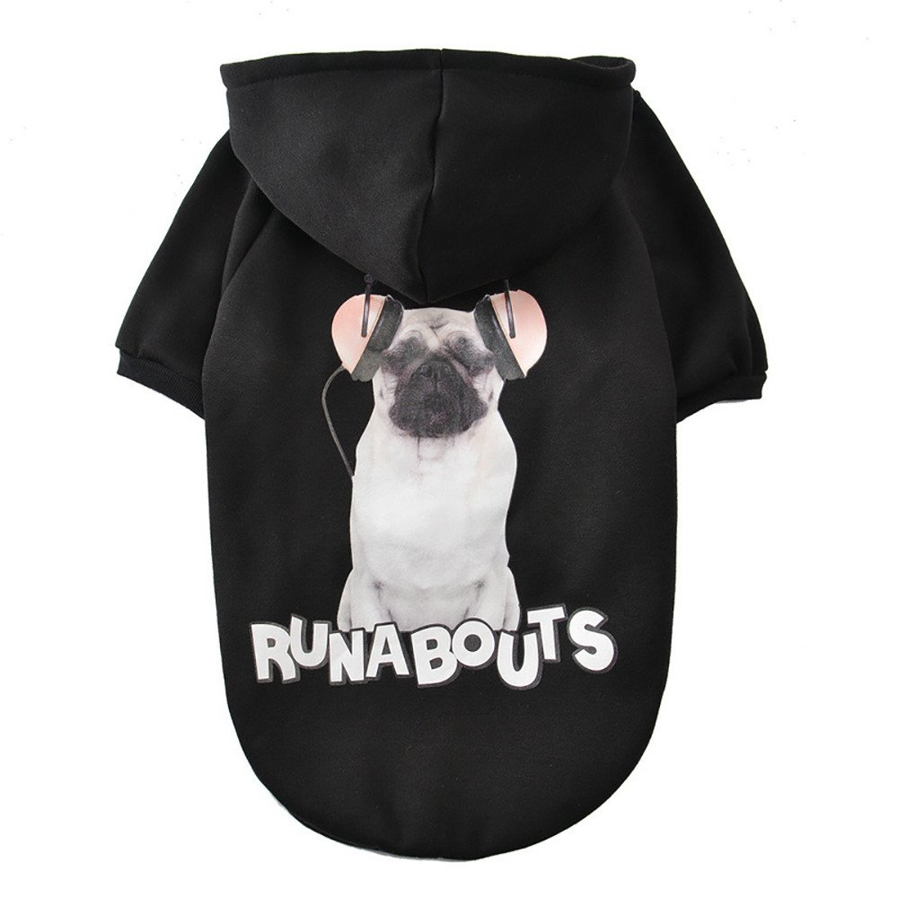 Futomcop Winter Casual Big Dog Sweater Pets Dog Clothes Warm Coat Jacket Clothing for Dogs(Black,M)