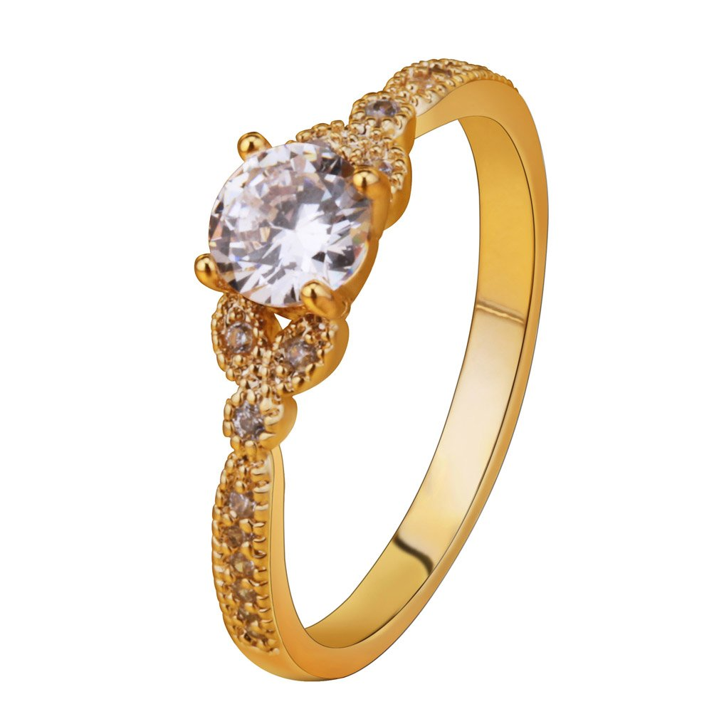 YAZILIND Gold Plated Round Cubic Zirconia Ladies Wedding Band Anniversary Ring
