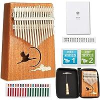 Mahogany Kalimba 17 Key Thumb Piano-TOM Classic Handmade Wood Kalimba with Waterproof EVA Case-Portable Mbira Sanza Finger Piano as Gifts for Kids and Adults Beginners (TY-2)
