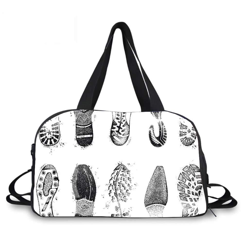 Grunge Decor Personality Travel Bag,Set of Various Shoe Tracks Human Foot Damaged Murky Artisan Walking Image for Travel Airport,One_Size