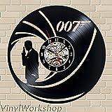 James Bond 007vinilo reloj de pared 12en (30cm) Negro Decoración moderna decorativo discos de vinilo reloj de pared Este reloj es un regalo único a tus amigos y familia para cualquier ocasión