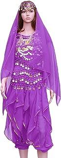 FENICAL 5pcs / Set Danse Indienne Robe de Danse du Ventre à Manches Courtes Pantalon Rotatif Ensemble (Violet foncé, Tops + Pantalon + chaîne de Taille + Couvre-Chef Voile + Collier)