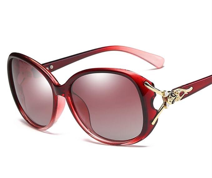 Chickwin Moda Mujer Retro Cool Shade Wayfarer UV400 Protección Polarizada Gafas De Sol (Vino tinto