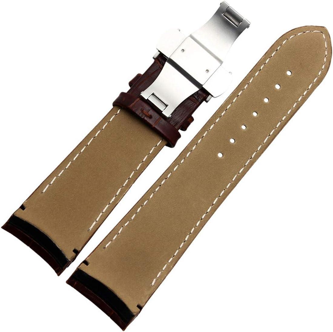 22mm/23mm/24mm courbé Fin Bracelet en Cuir Boucle Bracelet en Acier Pliable Fermoir Papillon Boucle Bracelet No Buckle Brown