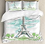 Paris Duvet Cover Set by Ambesonne, Touristic Colorful Sketch of Eiffel Tower in Paris French Style Travel Illustration, 3 Piece Bedding Set with Pillow Shams, Queen / Full, Multicolor