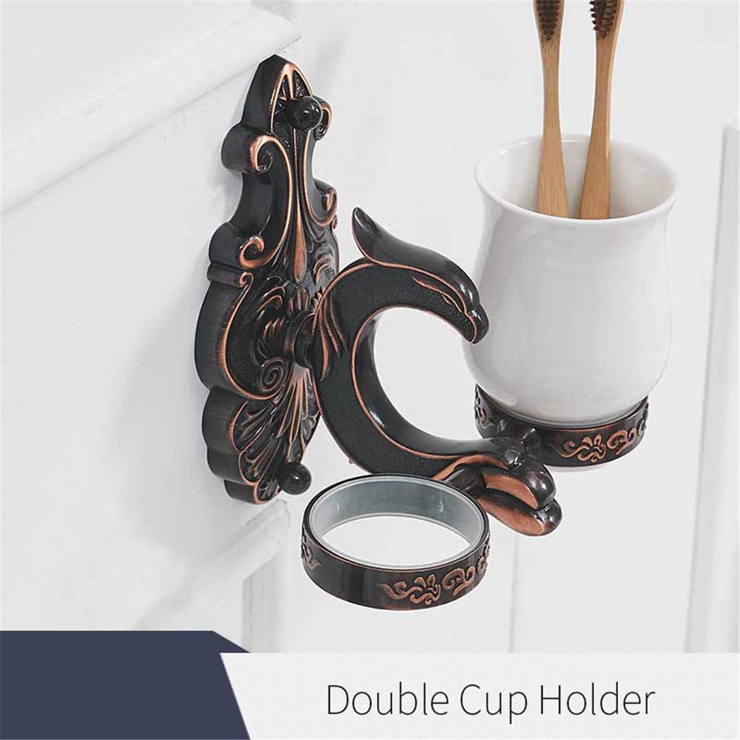 YEBCSKPXA Brass Bathroom Toothbrush Holder Black Double Ceramic Cups Wall Mount Luxury Bathroom Accessories Double Cup Holder
