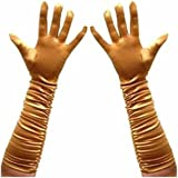 Long Ruched Satin Evening Gloves - Gold