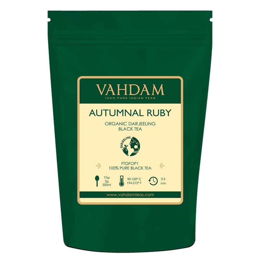 VAHDAM, té negro otoñal Darjeeling Ruby, 100 gramos (50 tazas) | Hojas de té exóticas de Darjeeling | DUCHA DE OTOÑO | Hojas de té negro 100% PURO Té negro ...