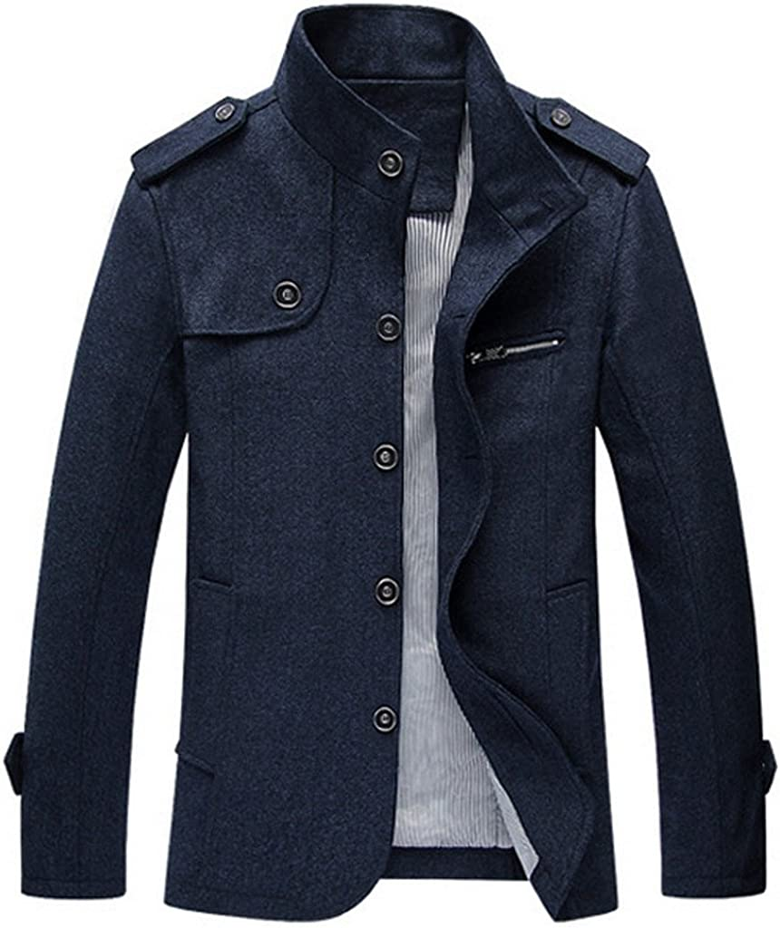 YGT Mens Wool Blend Top Coat Single Breasted Buttons Military Inspired Trench Coat